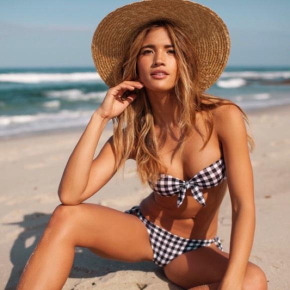 Bandeau Guess Top Gingham Bikini Brazilian Bottom yfYvI76mbg